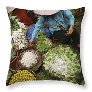Local Farmers Selling Their Crop Throw Pillow