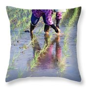 Local Planting Rice By Hand Throw Pillow