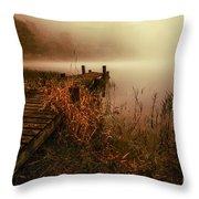 Loch Ard Early Morning Mist Throw Pillow by John Farnan