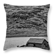 Loch Arklet Boathouse Throw Pillow