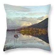 Loch Leven Moorings Throw Pillow