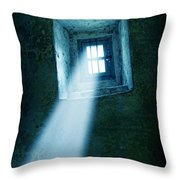 Locked Window In Old Building Throw Pillow