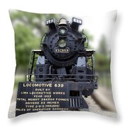 Locomotive 639 Type 2 8 2 Front View Throw Pillow