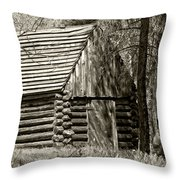 Log Building In The  Woods Throw Pillow