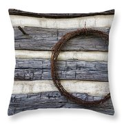 Log Cabin And Barbed Wire Throw Pillow
