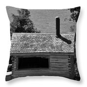 Log Cabin At Discovery Harbour Throw Pillow