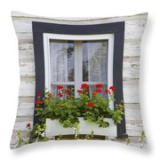 Log Home And Flower Box In The Window Throw Pillow