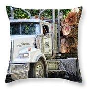 Logging Truck Throw Pillow