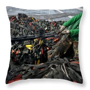 Logistics Specialist Wraps Cargo Nets Throw Pillow