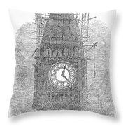 London: Big Ben, 1856 Throw Pillow