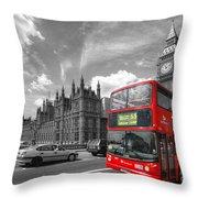 London Big Ben And Red Bus Throw Pillow
