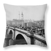 London Bridge Showing Carriages - Coaches And Pedestrian Traffic - C 1900 Throw Pillow