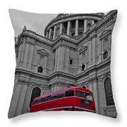 London Bus At St. Paul's Throw Pillow