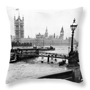 London England - House Of Parliament - C 1909 Throw Pillow
