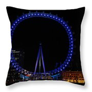 London Eye All Done Up In Blue Light In The Night With A Small Reflection In The Thames Throw Pillow
