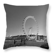 London Skyline Edf Eye Bw Throw Pillow