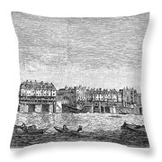 London: Waterfront, 1750. /nlondon Bridge And Dyers Wharf. Wood Engraving After A Painting By S. Scott, C1750 Throw Pillow