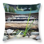 Lone Blade Of Grass On Railtracks Throw Pillow