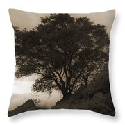 Lone Oak 2 Sepia Throw Pillow