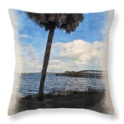 Lone Palm Tree Throw Pillow