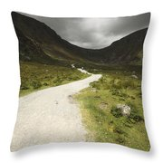 Lone Person Walking On A Path Leading Throw Pillow