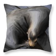 Lone Sea Lion Throw Pillow by Jack Zulli