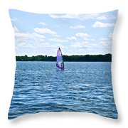 Lone Wind Surfer Throw Pillow