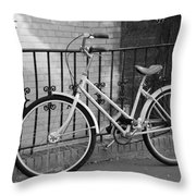 Lonely Bike In Black And White Throw Pillow