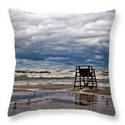 Lonely Lifeguard Chair 2 Throw Pillow