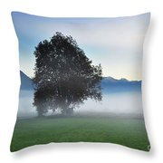 Lonely Tree In The Fog Throw Pillow