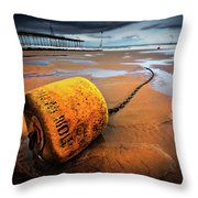 Lonely Yellow Buoy Throw Pillow