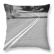 Long And Winding Road Bw Throw Pillow