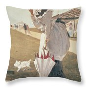 Long Branch Throw Pillow by Winslow Homer