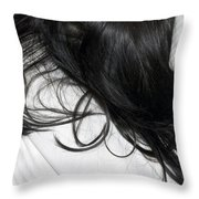 Long Dark Hair Of A Woman On White Pillow Throw Pillow