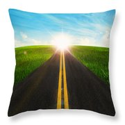 Long Road In Beautiful Nature  Throw Pillow