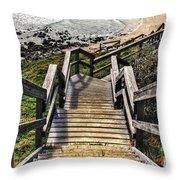 Long Stairway To Beach 2 Throw Pillow