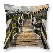 Long Stairway To Beach Throw Pillow