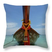 Long Tail Boat Thailand Throw Pillow