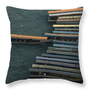 Long-tail Boats Anchored On The Chao Throw Pillow