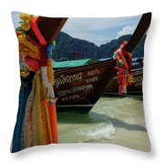Long Tail Boats Throw Pillow