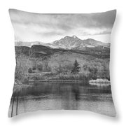 Longs Peak And Mt Meeker Sunrise At Golden Ponds Bw  Throw Pillow
