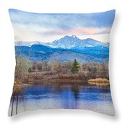 Longs Peak And Mt Meeker Sunrise At Golden Ponds Throw Pillow