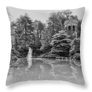 Longwood Gardens Castle In Black And White Throw Pillow