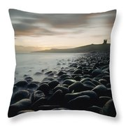 Looking Along Boulder Covered Beach Throw Pillow