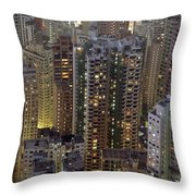 Looking Down On Crowded Residential Throw Pillow