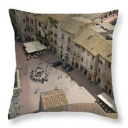 Looking Down On The Red Tile Rooftops Throw Pillow