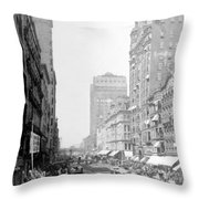 Looking Down State Street - Chicago - C  1897 Throw Pillow