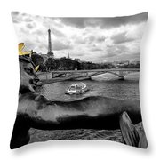 Looking Down The Seine Throw Pillow