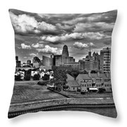 Looking Downtown From The Erie Basin Marina Throw Pillow