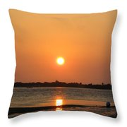 Looking For Shells On The The Beach - Dunedin Florida Throw Pillow